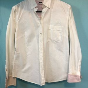 J.crew Women's cut white oxford with pink details